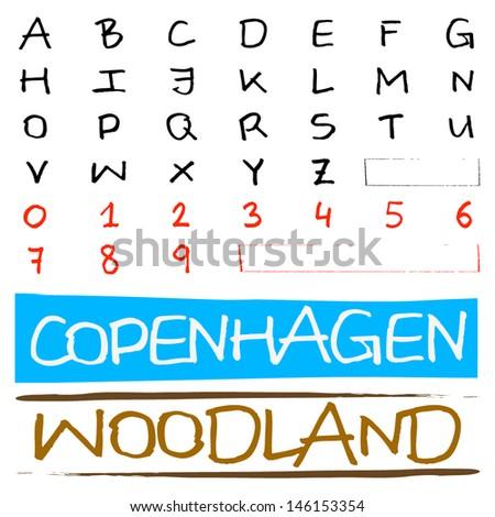 Handmade Human Font - stock vector