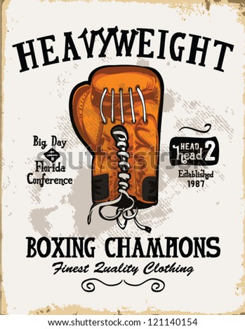 handmade illustration vector sketch athletics  boxing gloves logo with wording for apparel. - stock vector