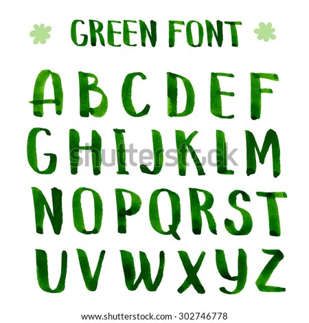 Handmade ink green alphabet. Vector alphabet the capital letters.Brush painted letters.