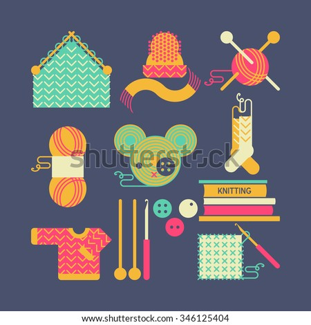 Handmade knitting illustration - Set of knitting and crafts. Yarn,  buttons, thread, needle bar and knitting needles. Collection of flat style geometry sewing vector icons.  - stock vector