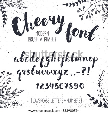 Handmade letters. Cheery handwritten alphabet with floral elements on background. Hand drawn calligraphy. Modern inc typography. - stock vector
