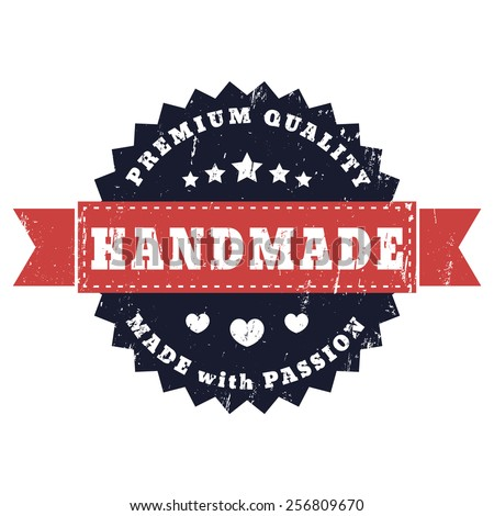 Handmade, Made with Passion grunge sign vector illustration, eps10, easy to edit - stock vector