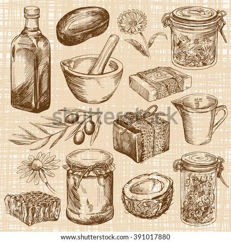 Handmade natural soap - hand drawn set - stock vector