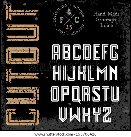 Handmade retro font. Sans serif inline type. Grunge textures placed in separate layers. Vector illustration. - stock vector