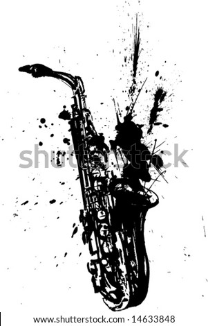 handmade saxophone illustration-vector - stock vector
