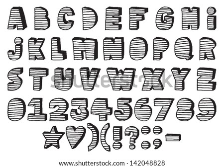 Handmade Cut Out Letters Font Stock Vector 142016314 - Shutterstock