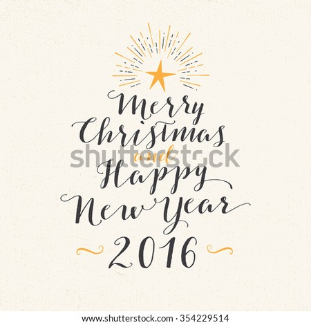 Handmade style greeting card - Merry Christmas and Happy New Year 2016 - Vector EPS10. - stock vector