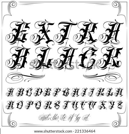 Handmade tattoo vector lettering - stock vector