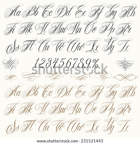 Handmade vector calligraphy tattoo alphabet numbers stock vector handmade vector calligraphy tattoo alphabet with numbers altavistaventures Images