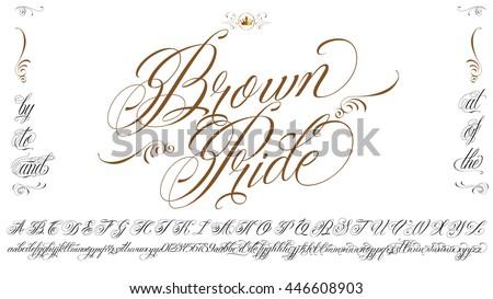 Handmade vector calligraphy tattoo alphabet numbers stock vector handmade vector calligraphy tattoo alphabet with numbers thecheapjerseys Image collections
