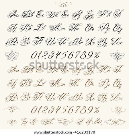 Handmade vector calligraphy tattoo alphabet with numbers and decorative elements. - stock vector