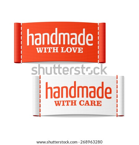 Handmade with love and care labels. Vector. - stock vector