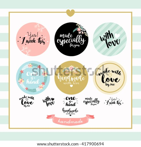 Handmade with Love Typography Stamp Vector Design - stock vector