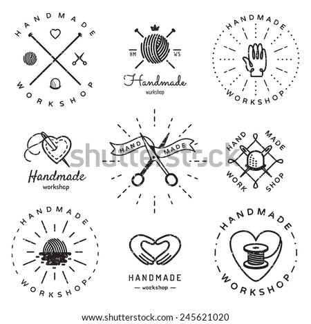 Handmade workshop logo vintage vector set. Hipster and retro style. Perfect for your business design. - stock vector