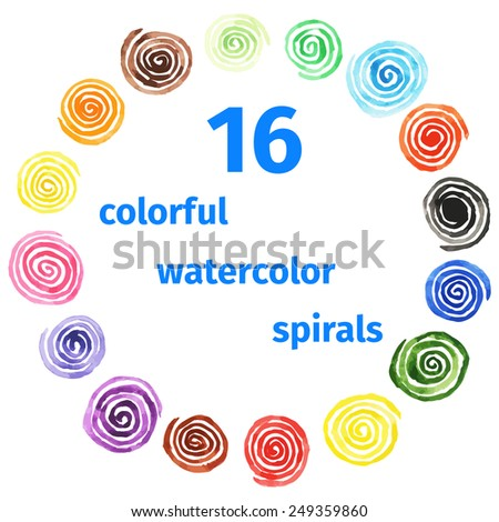 Handpaint watercolor vector background.Bright spirals of different colors. Texture for invitations, cards, web sites, design. - stock vector