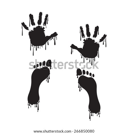 Handprint and footprint with dripping paint - stock vector