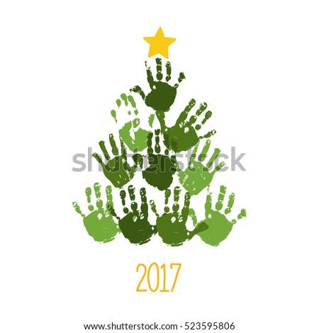 Handprint Christmas Tree With Hand Drawn Star Card Design Vector Eps 10 Illustration