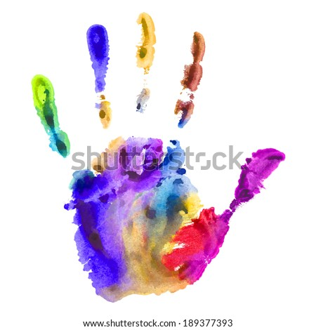 handprint in multicolored paint - vector watercolor on white background