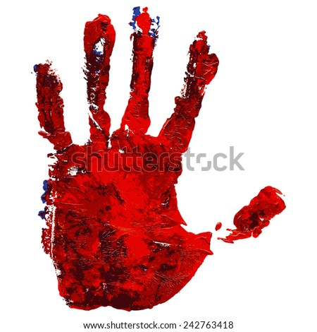 Handprint in paint colors isolated on white. Acrylic and watercolor. Vector.