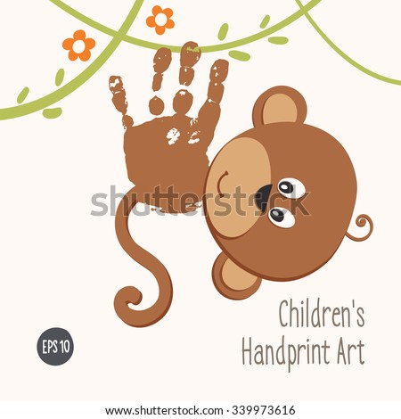 Handprint Monkey Climbing Jungle Smiling Hand Stock Vector (2018 ...