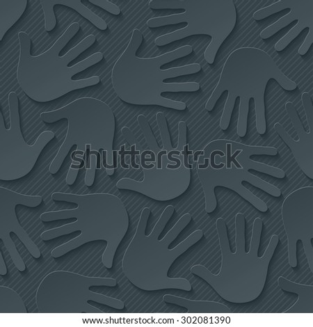 Handprints wallpaper. 3d seamless background. Vector EPS10. See others in My Perforated Paper Sets. - stock vector
