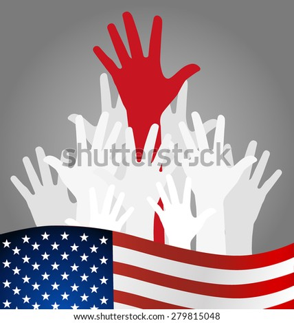 Hands and american flag, vector illustration.