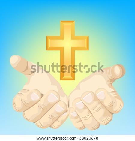 hands and cross - stock vector