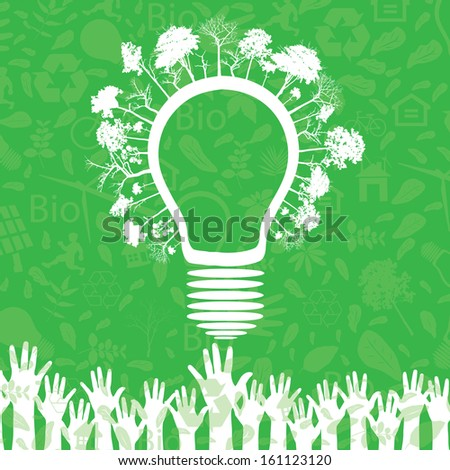 Hands and green ecology light bulb. Vector illustration. - stock vector