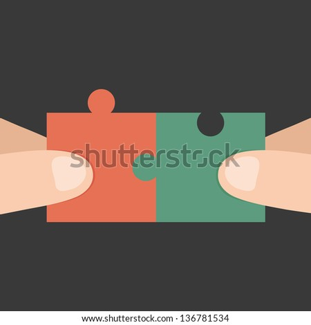 Hands and puzzle - stock vector