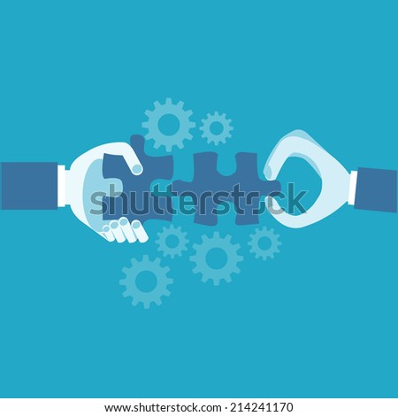 Hands and puzzle. Business concept  - stock vector