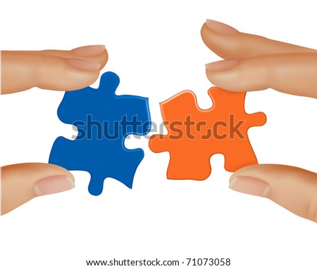 Hands and puzzle. Business concept. Vector illustration.