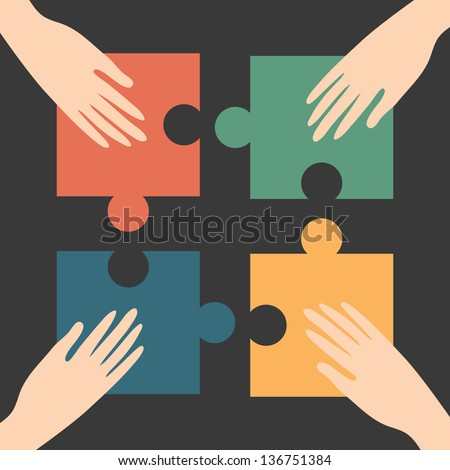 Hands and puzzle, unity conceptual - stock vector