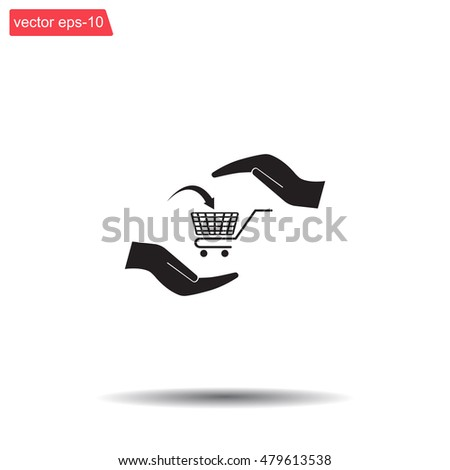 hands and shopping cart, sign purchase protection web icon. vect
