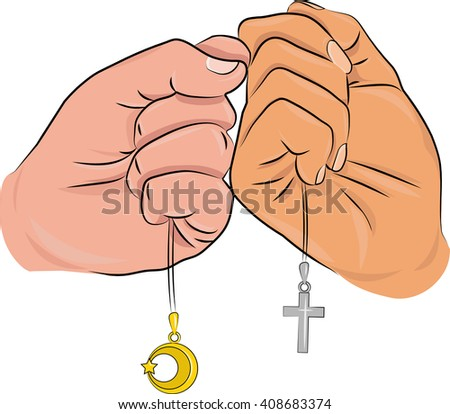 hands and symbols of religious