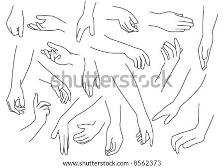 Hands are in different poses. - stock vector
