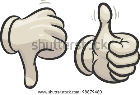 Hands are making thumbs up and down signals,  in two different layers - stock vector