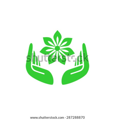 Hands around Jasmin. Hands holding flower flat logo design - stock vector