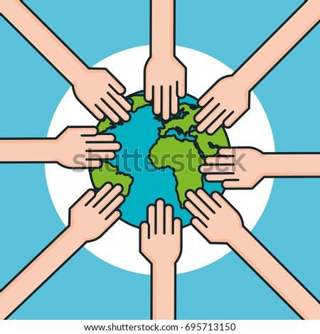 Hands Around World Symbol Peace Stock Vector 695713150 Shutterstock