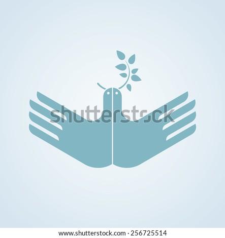 Hands as a bird. Creative idea. - stock vector