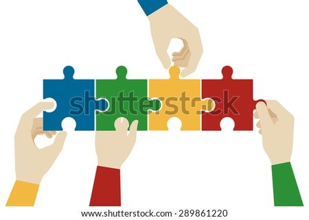 Hands assembling jigsaw puzzle pieces. Teamwork connection, idea connect, solve and success, vector illustration - stock vector