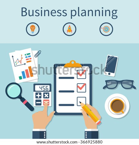 Hands businessman on table, planning a business plan. Strategy development. Finding solutions, diagrams, calculation, financial analysis. Concept of business, planning. Flat design, vector. - stock vector