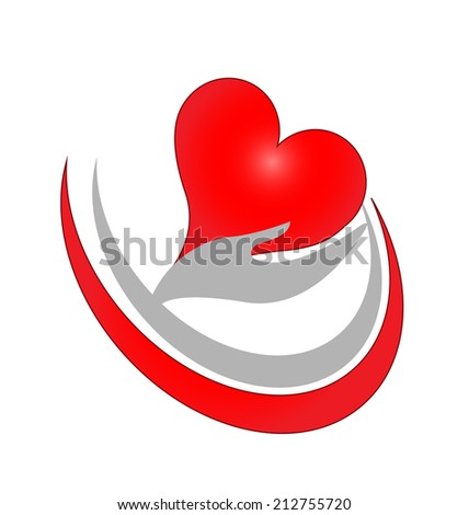 Hands care with love symbol vector icon - stock vector
