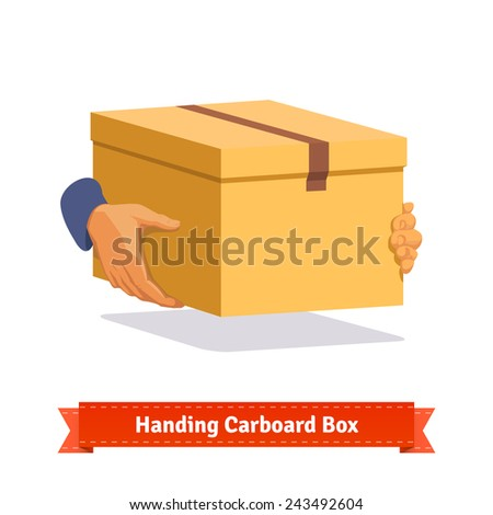 Hands carrying a cardboard box delivery. Flat style illustration.  - stock vector