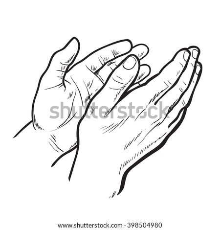 Hands clap. Vector hand drawn. Circuit hands. Symbol of applause. Bravo. Applause in sketch style. Hands clap. Narisovanna hands clapping in support. Success. Hands on a white background. - stock vector