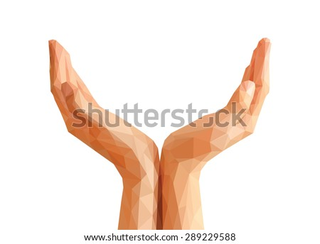 hands cupped polygonal origami Empty. - stock vector