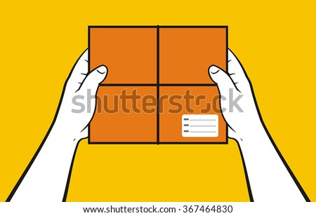 Hands delivering box - stock vector