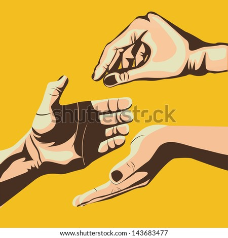hands design over pink background vector illustration