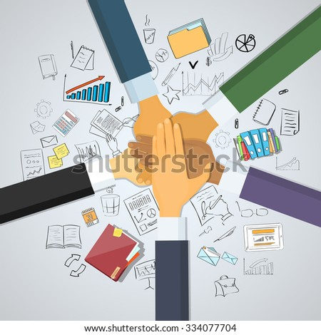 Hands Desk Team Leader Business People Pile Hand Stack On Each Other, Business people Colleagues Success Collaboration Leader Doodle Hand Draw Sketch Concept Vector Illustration - stock vector