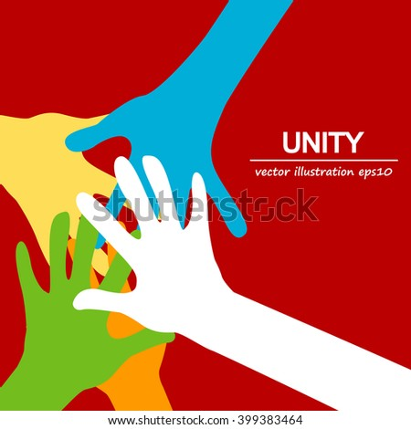 hands diverse unity  - stock vector