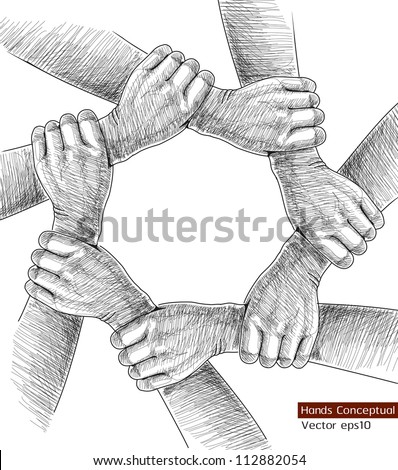 Hands Drawing Conceptual. Vector illustration - stock vector